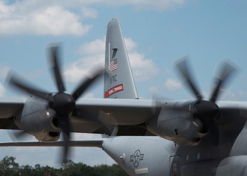 The U.S. Air Force Reserve's 403rd Wing sent an 815th Airlift Squadron C-130J Super Hercules aircrew to MacDill Air Force Base, Florida Sept.23, 2017 to support relief operations for Hurricane Maria. The 815th AS crew was staged there with other C-130 and C-17 Globemaster III aircraft from other units to assist with recovery efforts. (U.S. Air Force photo/Staff Sgt. Shelton Sherrill)
