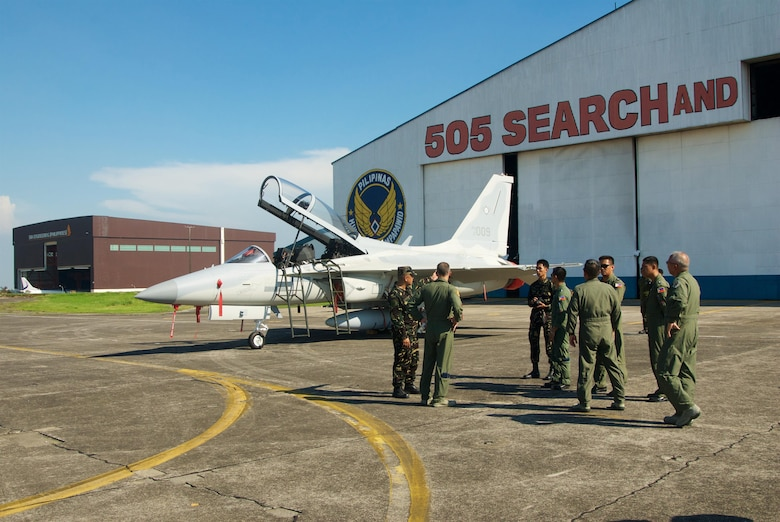 Hawaii Air National Guard Airmen are given a tour of the Philippine Air Force's FA-50 aircraft