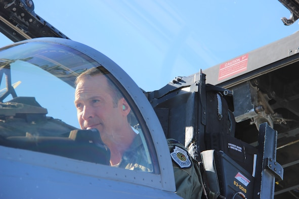 Col. Brian Kamp, Air National Guard advisor to the U.S. Air Force Warfare Center, performs pre-flight checks in the cockpit of an F-15C Eagle September 27, 2017, at Nellis Air Force Base, Nevada. Kamp has acquired more than 4,000 flight-hours in an F-15C. (U.S. Air Force photo by Susan Garcia/Released)