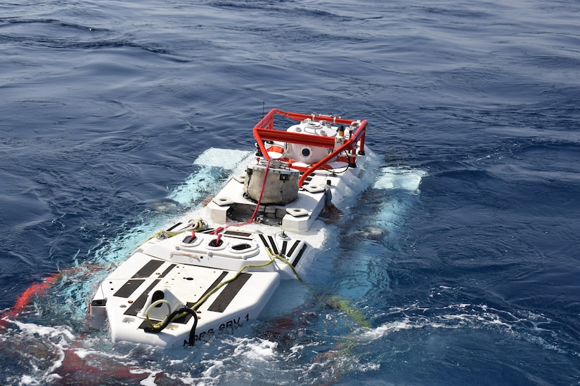 The NATO Submarine Rescue System (NSRS) submarine Nemo prepares to make a simulated rescue dive as part of NATO submarine escape and rescue exercise Dynamic Monarch 2017 while off the coast of Marmaris, Turkey.   (NATO photo by Denver Applehans/Released.)