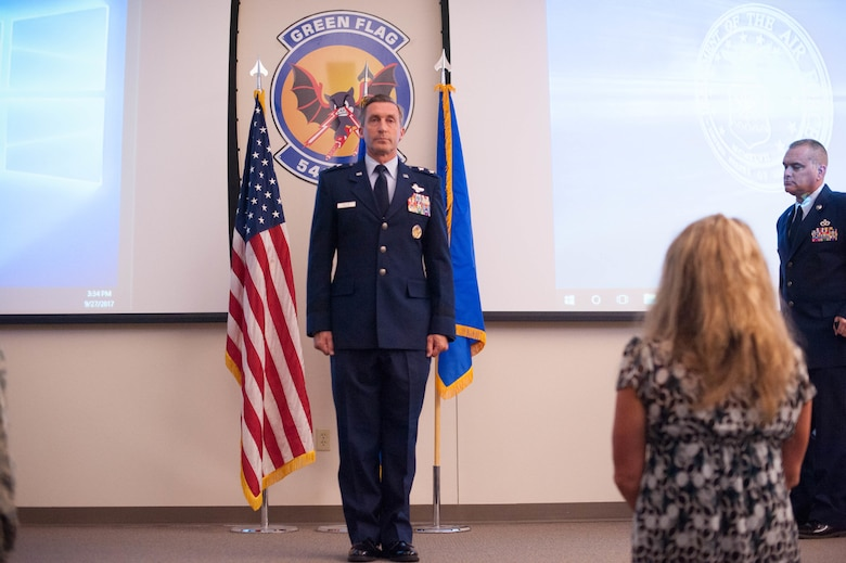 "On September 27, Maj. Gen. Ronald B. ""Bruce"" Miller presided over an Assumption of Responsibilities Ceremony in which Chief Master Sgt. James Loper succeded Chief Master Sgt. Thomas Brandhuber as Tenth Air Force Comand Chief Master Sgt. takng on the responsibilities for the morale and welfare of almost 20,000 Airmen in 10th Air Force. (Air Force photo by Lt. Col. Jessica D'Ambrosio)"