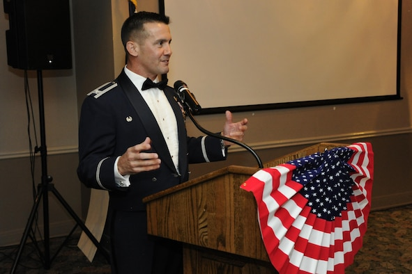 Col. Charles Velino, 47th Flying Training Wing commander, gives closing remarks attendees at the Air Force Ball on Laughlin Air Force Base, Texas, Sept. 30, 2017.  The Air Force Ball is an observance of the U.S. Air Force transitioning into its own branch of the U.S. Armed Forces on Sept. 18, 1947.