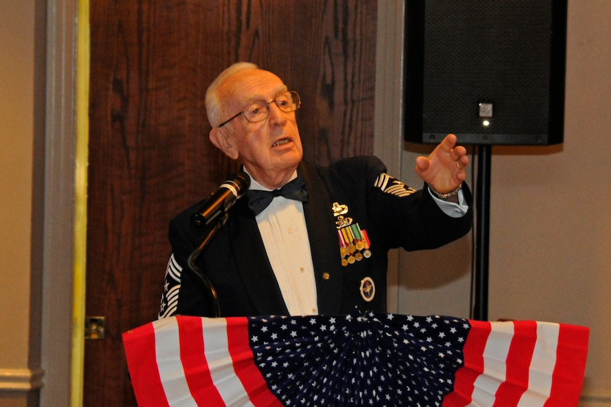 Retired Chief Master Sgt. Robert Mehaffey, recalls the highlights of his career as a guest speaker to attendees at the Air Force Ball on Laughlin Air Force Base, Texas, Sept. 30, 2017.  The Air Force Ball is an observance of the U.S. Air Force transitioning into its own branch of the U.S. Armed Forces on Sept. 18, 1947.