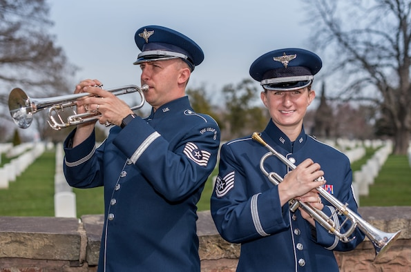 Technical Sgts. Adrian Holton and Kristin Cazenave, both new members of the Ceremonial Brass, share a remarkable history prior to their service in the U.S. Air Force Band. (Photo by TSgt Brandon Chaney/released)