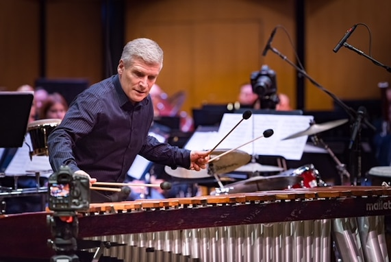 """Michael Burritt will reprise his Guest Artist Series appearance with the Concert Band on April 10th at the Eastman School of Music, playing the New York premiere of """"Pseudovector"""" by Matt Curlee. (Photo by CMSgt Robert Kamholz/released)"""