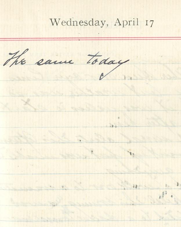 Capt. Edward V. Rickenbacker's 1918 wartime diary entry. (04/17/1918). The same today.
