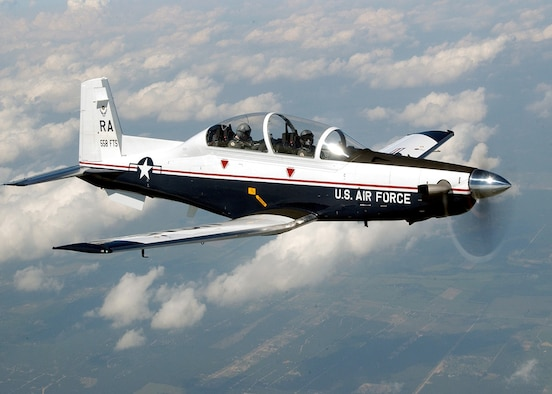 The T-6A Texan II is a single-engine, two-seat primary trainer designed to train Joint Primary Pilot Training, or JPPT, students in basic flying skills common to U.S. Air Force and Navy pilots. (U.S. Air Force photo / Master Sgt. David Richards)