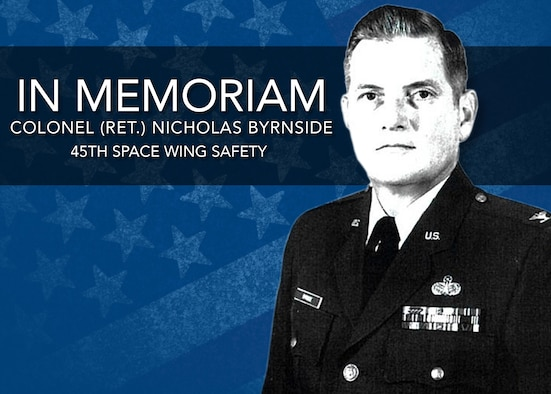 The flag will be flown at half-staff Friday, March 30th in honor of Mr. Nicholas C. Byrnside, Chief, Safety Analysis, who passed away on March 19. He was 78 years old. For more than 50 years, Mr. Byrnside proudly served and supported the United States Navy and United States Air Force, where he had a tremendous impact on the United States space program. (U.S. Air Force illustration by SSgt. Christopher Stoltz)