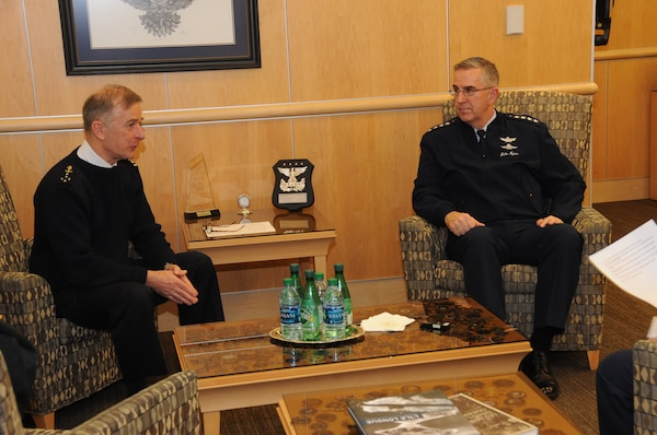 Adm. Phillipe Coindreau, vice chief of defense, French Armed Forces, and U.S. Air Force Gen. John Hyten, commander of U.S. Strategic Command (USSTRATCOM), participate in an interview at USSTRATCOM headquarters at Offutt Air Force Base, Neb., March 26, 2018. During his visit, Coindreau toured the command's global operations center and participated in discussions with Hyten, other senior leaders and subject matter experts on the continuing collaboration between the United States France.