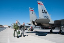Canadian Forces Brig. Gen. Sylvain Menard, Continental US NORAD Region deputy commander, receives an orientation flight in an F-15 fighter jet and visits with air crew members during his visit to Massachusetts Air National Guard's  104th Fighter Wing at Barnes Air National Guard Base, Mar. 25, 2018. During his visit, Menard spoke to wing leadership about its homeland defense mission and its relationship with CONR to ensure continental United States aerospace control.