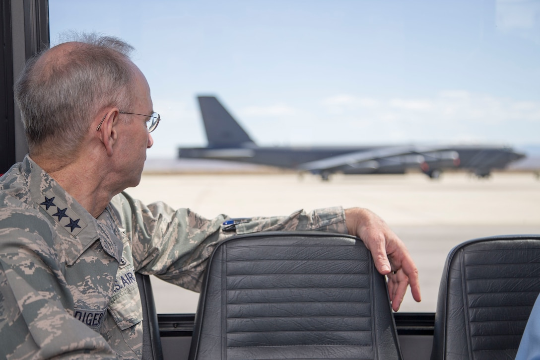 Lt. Gen. (Dr.) Mark Ediger, U.S. Air Force surgeon general, and his entourage were given tour of various facilities on and around Edwards Air Force Base, to include the Edwards flight line. (U.S. Air Force photo by Christopher Okula)