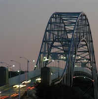 Sagamore Bridge at night.