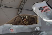 The Commanding Officer of Marine Fighter Attack Squadron 122, Lt. Col. John P. Price, conducts a pre-flight check of aircraft in preparation of VMFA-122's first flight operations in an F-35B Lightning II on Marine Corps Air Station Yuma, Ariz., March 29, 2018. VMFA-122 is conducting the flight operations for the first time as an F-35 squadron.