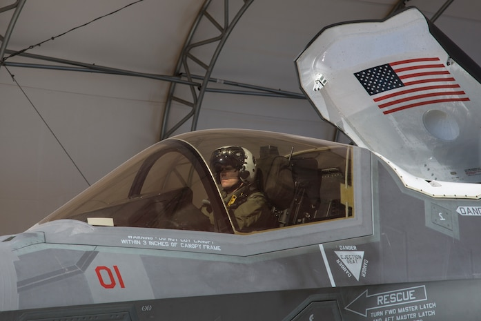 The Commanding Officer of Marine Fighter Attack Squadron 122, Lt. Col. John P. Price, conducts a pre-flight check of aircraft in preperation of VMFA-122's first flight operations in an F-35B Lightning II on Marine Corps Air Station Yuma, Ariz., March 29, 2018. VMFA-122 is conducting the flight operations for the first time as an F-35 squadron.