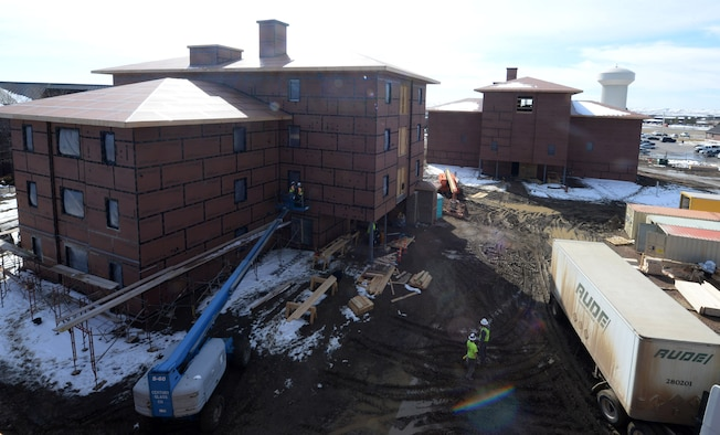 Three new dormitories are worked on March 22, 2018, at Ellsworth Air Force Base, S.D. When completed, the dorms will accommodate approximately 140 base Airmen. (U.S. Air Force photo by Airman 1st Class Thomas Karol)