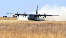 On March 22 at Fort Riley five C-130 Hercules aircraft, three from Little Rock Air Force Base, and two from St. Joseph, Missouri, landed on a 4,100-foot dirt strip located next to the highway as they conducted a combat offload.