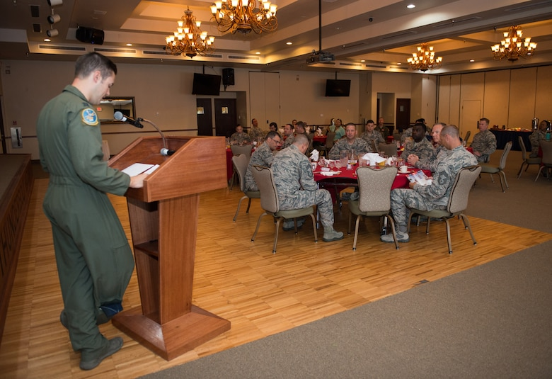 Capt. Daniel Hess, 310th Fighter Squadron, installation project officer, speaks to Thunderbolts during the Air Force Assistance Fund campaign kickoff breakfast at Luke Air Force Base, Ariz., April 2, 2018. The event officially kicked off the six-week campaign designed to assist Air Force personnel and their families. (U.S. Air Force photo by Airman 1st Class Alexander Cook)
