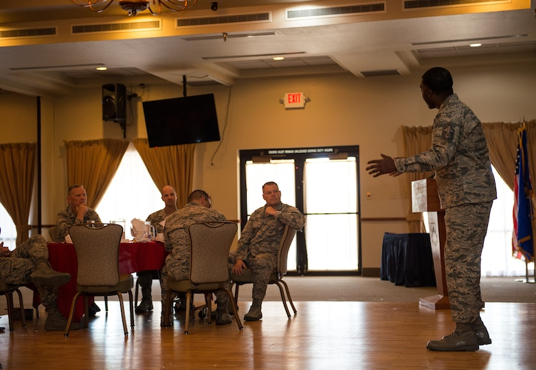 Master Sgt. Nicholas Jackson, 56th Equipment Maintenance Squadron flight chief, speaks to Thunderbolts during the Air Force Assistance Fund campaign kickoff breakfast at Luke Air Force Base, Ariz., April 2, 2018. During the event, Jackson shared his story about how the AFAF provided direct support for him and family. The contributions made to the AFAF support the needs of Airmen and their families by providing emergency financial assistance and educational support. (U.S. Air Force photo by Airman 1st Class Alexander Cook)