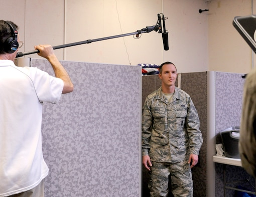Devon Ryan an actor, portrays Staff Sgt Riggs during the recording of one of the scenarios to be included in the What Now Airman series for Defenders, Joint Base San Antonio – Randolph, Texas, March 19, 2018. The Defender training video is being developed to support the new Air Force Global Strike Command Security Forces New Supervisor Workshop and other Security Force units in the Air Force.