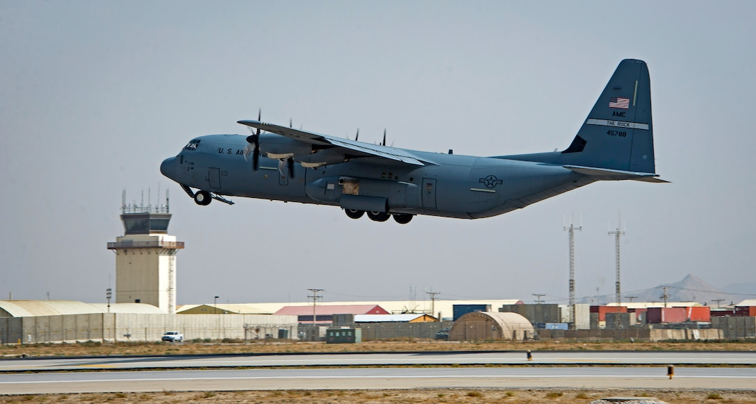 A C-130J Super Hercules takes off from Bagram Airfield, Afghanistan, April 1, 2018.