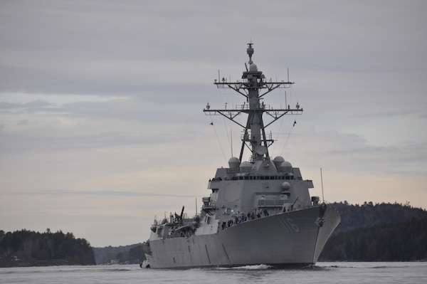 BATH, Maine (March 28, 2018) The future USS Thomas Hudner (DDG 116) commences builder's trials.  Trials completed March 31 after the ship spent four days underway off the coast of Maine.
