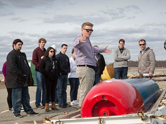 URI, UConn students learn about NUWC Newport's cutting-edge programs during tour