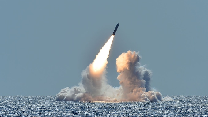 180326-N-UK333-012 PACIFIC OCEAN (March 26, 2008) An unarmed Trident II D5 missile launches from the Ohio-class ballistic missile submarine USS Nebraska (SSBN 739) off the coast of California. The test launch was part of the U.S. Navy Strategic Systems Program's demonstration and shakedown operation certification process. The successful launch certified the readiness of an SSBN crew and the operational performance of the submarine's strategic weapons system before returning to operational availability. (U.S. Navy photo by Mass Communication Specialist 1st Class Ronald Gutridge/Released)