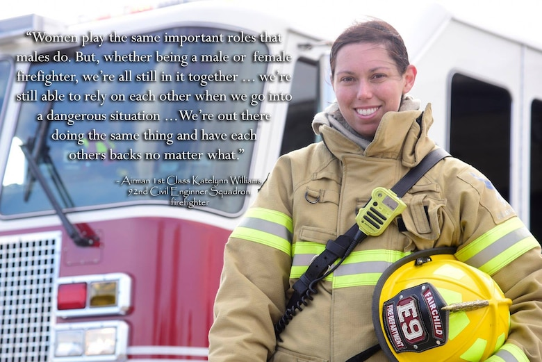 Airman 1st Class Katelynn Williams, 92nd Civil Engineer Squadron firefighter, poses for a photo March 30, 2018 at Fairchild Air Force Base, Washington. Women's History Month is recognized during the month of March to acknowledge the contributions that women have made throughout the years. (U.S. Air Force photo illustration/Senior Airman Nick J. Daniello)