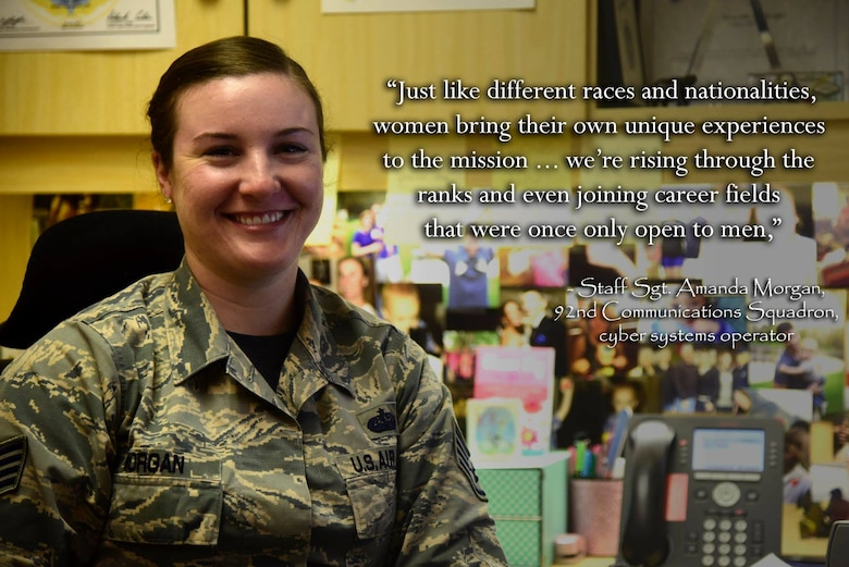 Staff Sgt. Amanda Morgan, 92nd Communications Squadron cyber systems operator, poses for a photo March 30, 2018 at Fairchild Air Force Base, Washington. Women's History Month is recognized during the month of March to acknowledge the contributions that women have made throughout the years. (U.S. Air Force photo illustration/Senior Airman Nick J. Daniello)