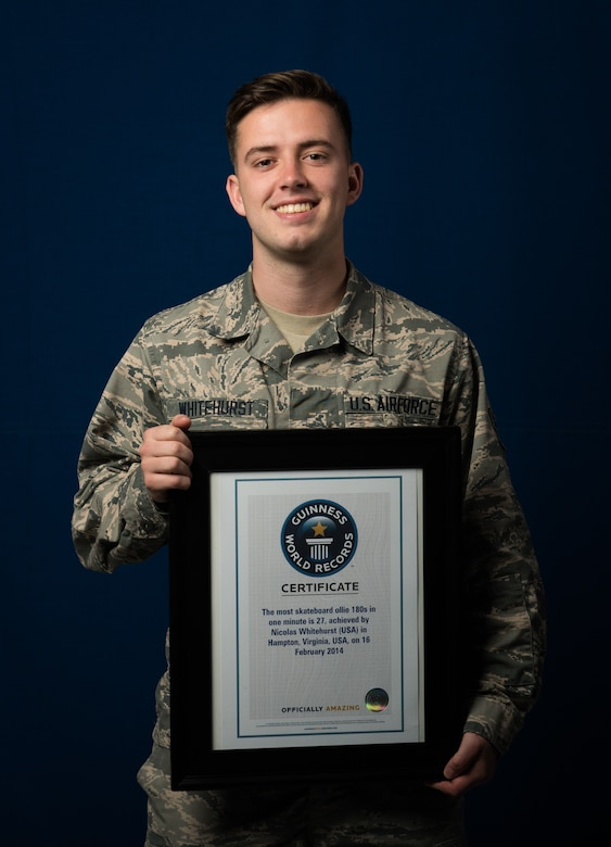 U.S. Air Force Airman 1st Class Nicholas Whitehurst, 633rd Communications Squadron client systems technician, holds his Guinness World Record certificate March 22, 2018, at Joint Base Langley-Eusits, Virginia.