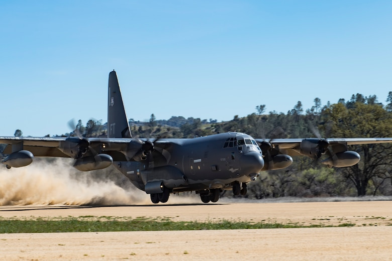 Aircrew within a HC-130J Combat King II from the from the 71st Rescue Squadron, Moody Air Force Base, Ga., performs an austere combat landing during Tiger Rescue IV, March 29, 2018, at Vandenberg Air Force Base, Calif. The four-day exercise challenged Airmen from multiple rescue squadrons to bring the capabilities of the personnel recovery triad together to successfully complete rescue missions and maintain proficiency. The three branches of the personnel recovery triad are the HC-130J, HH-60G Pave Hawk and the guardian angel weapons system or pararescuemen. (U.S. Air Force photo by Senior Airman Janiqua P. Robinson)