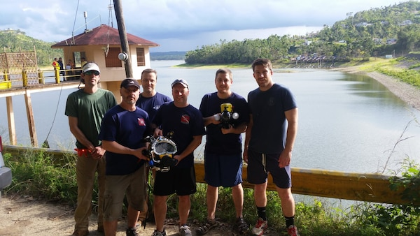 The USACE Technical Services Dive Team completed ROV and Dive Inspections at the Guajataca Dam in Puerto Rico from Feb. 26-28, 2017 in support of USACE Jacksonville District, repairs for FEMA to collect detailed facility conditions and measurements for upcoming repair work.  Team member order in the group shot are (L-R) Andrew Hannes, Mike Draganac, Dave Bala, Shanon Chader, Weston Cross, Brian Dockstader. (Photo by Dave Mastriano, Jacksonville District)