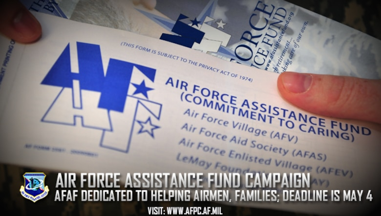 The 2018 Air Force Assistance Fund campaign runs from March 26 to May 4.The AFAF has four different charities: the Air Force Aid Society, Air Force Enlisted Village, Air Force Villages Charitable Foundation and the General and Mrs. Curtis E. LeMay Foundation. (U.S. Air Force courtesy photo)