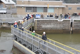 "Parents and their children tour Old Hickory Lock during ""Bring Your Kids to Work Day"" in Old Hickory, Tenn., March 30, 2018. A total of 36 kids joined their parents for a tour of the dam, lock and power plant. (USACE Photo by Lee Roberts)"