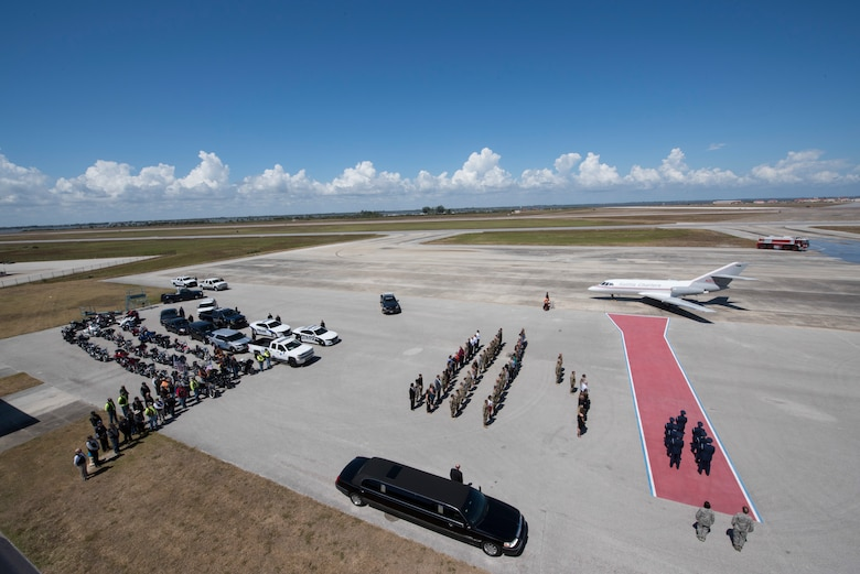 Master Sgt. William Posch arrived home to Patrick Air Force Base April 3, 2018 at noon after being killed in action in Iraq last month where he was met by his family and the community. Posch, an Indialantic, Florida, resident, had 18 years of service, the last ten of which were with the 920th Rescue Wing. Among his decorations were the Air Medal with silver oak leaf cluster; an Aerial Achievement Medal and the Air Force Commendation Medal with Valor. He was awarded the Air Force Commendation Medal with Combat device posthumously. (U.S. Air Force photo)