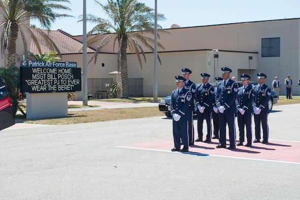 The Patrick Air Force Base community came out in full force to honor Master Sgt. William Posch upon arriving home to Patrick Air Force Base April 3, 2018 at noon after being killed in action in Iraq last month. The entire base lined the streets of Patrick Air Force Base to pay respect to MSgt. Posch and his family for their ultimate sacrifice. The Patrick Honor Guard conducted Posch's dignified transfer. (U.S. Air Force photo)