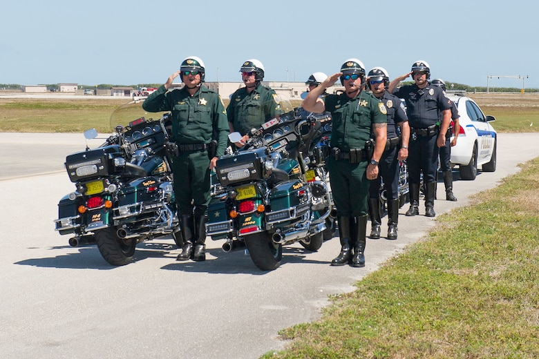 Master Sgt. William Posch arrived home to Patrick Air Force Base April 3, 2018 at noon after being killed in action in Iraq last month where he was greeted by many community members. Brevard County Sheriff deputies rendered salutes before escorting the motorcade for Posch's dignified transfer. The entire base lined the streets of Patrick Air Force Base to pay respect to MSgt. Posch and his family for their ultimate sacrifice. (U.S. Air Force photo)