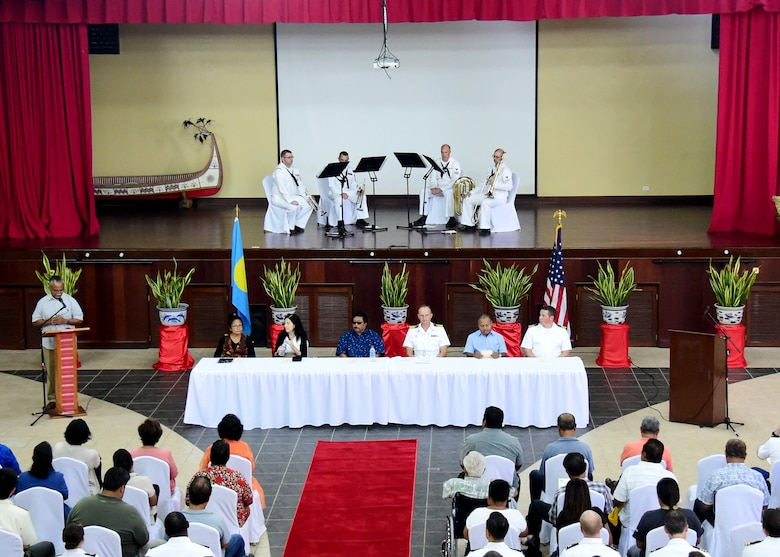 180404-N-QV906-033 YAP, Federated States of Micronesia (April 4, 2018) Distinguished attendees sit at the head table during the opening ceremony of Pacific Partnership 2018 (PP18) mission stop Palau April 4. The distinguished attendees included the Honorable Raynold B. Oilouch, Vice President of Palau, the Honorable Faustina Rehuher Marugg, Minister of State of Palau, Paramount Chief Ibedul Yataka M. Gibbons, the Honorable Amy Hyatt, U.S. Ambassador to Palau, Capt. Peter Olive, deputy mission commmander of Pacific Partnership 2018, and Capt. Charles Black, commanding officer of USNS Brunswick. PP18's mission is to work collectively with host and partner nations to enhance regional interoperability and disaster response capabilities, increase stability and security in the region, and foster new and enduring friendships across the Indo-Pacific Region. Pacific Partnership, now in its 13th iteration, is the largest annual multinational humanitarian assistance and disaster relief preparedness mission conducted in the Indo-Pacific.