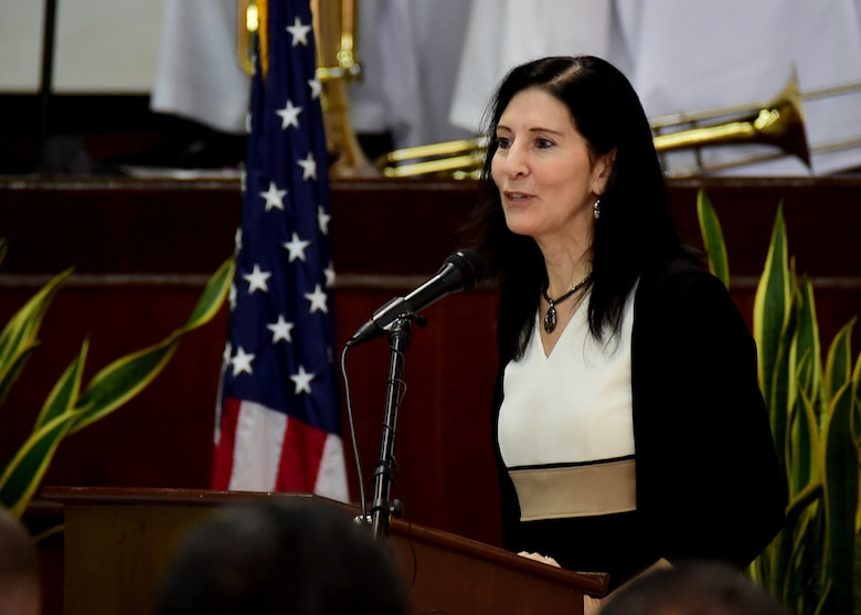 180404-N-QV906-074 KOROR, Republic of Palau (April 4, 2018) The Honorable Amy Hyatt, U.S. Ambassador to the Republic of Palau, delivers keynote remarks during the opening ceremony of Pacific Partnership 2018 (PP18) mission stop Palau April 4. PP18's mission is to work collectively with host and partner nations to enhance regional interoperability and disaster response capabilities, increase stability and security in the region, and foster new and enduring friendships across the Indo-Pacific Region. Pacific Partnership, now in its 13th iteration, is the largest annual multinational humanitarian assistance and disaster relief preparedness mission conducted in the Indo-Pacific.