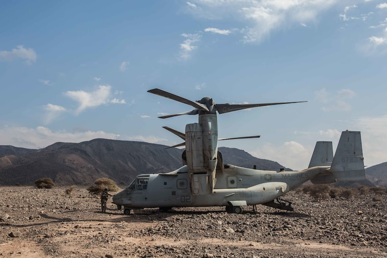 180402-M-WP334-0053 ARTA RANGE, Djibouti (April 2, 2018) A U.S. Marine Corps MV-22B assigned to Marine Medium Tiltrotor Squadron (VMM) 162 (Reinforced), 26th Marine Expeditionary Unit, is parked in Arta Range, Djibouti, during Alligator Dagger, April 2, 2018. Led by Naval Amphibious Force, Task Force 51/5th Marine Expeditionary Brigade, Alligator Dagger integrates U.S. Navy and Marine Corps assets to practice and rehearse a range of critical capabilities available to U.S. Central Command both afloat and ashore to promote stability and security in the region.
