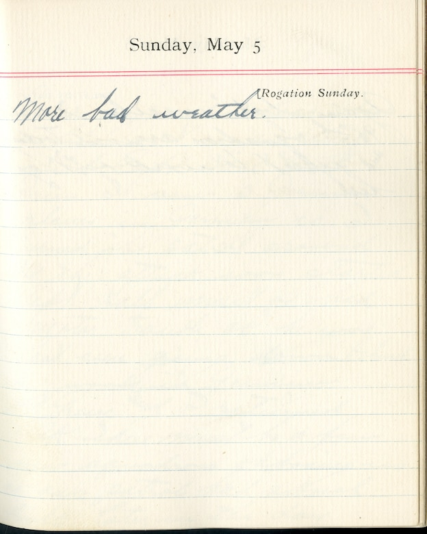 Capt. Edward V. Rickenbacker's 1918 wartime diary entry. (05/05/1918).  More bad weather.