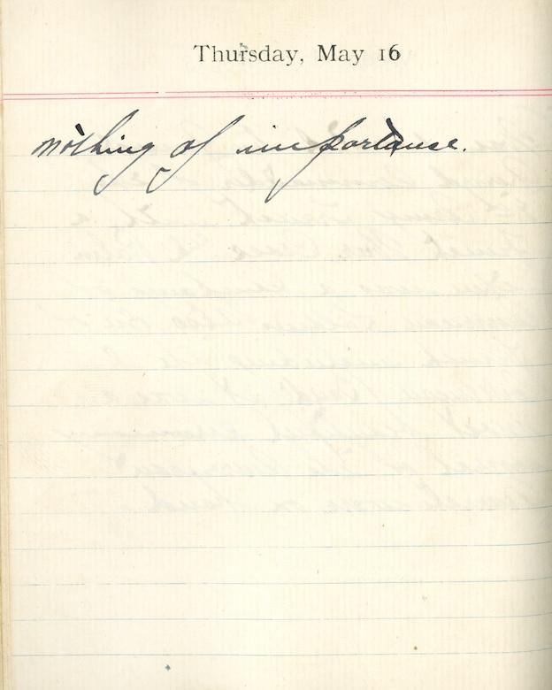 Capt. Edward V. Rickenbacker's 1918 wartime diary entry. (05/16/1918).  Nothing of importance.