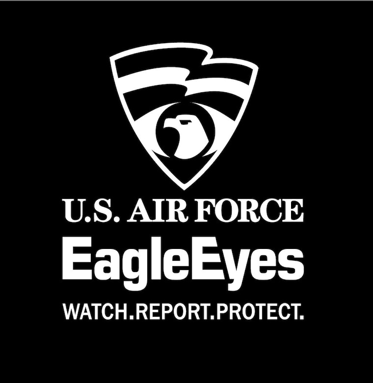 A black box with the words U.S. Air Force Eagle Eyes watch.report.protect