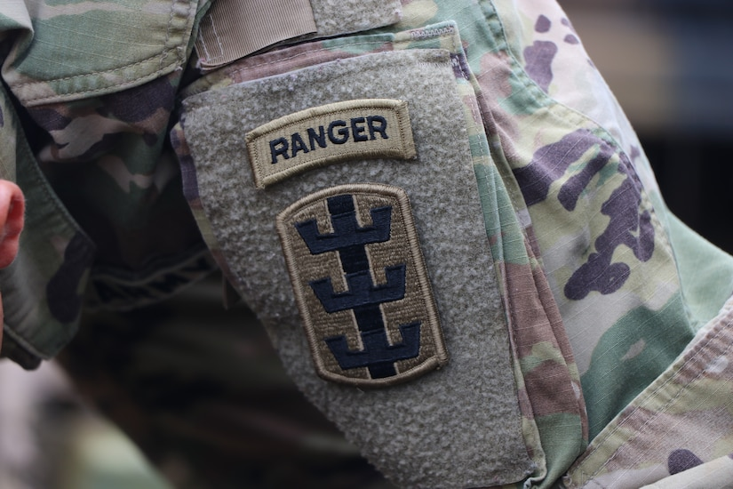 Soldier displays the Army's Ranger patch.