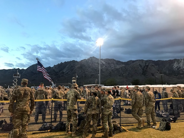 Participants of the 29th annual Bataan Memorial Death March, wait for the event to begin, March 25, 2018, at White Sands, N.M.