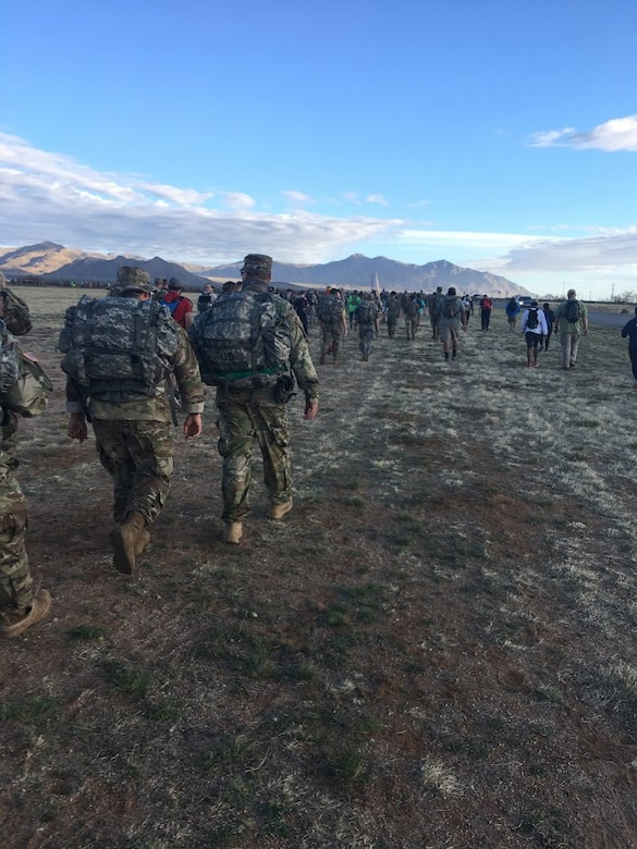 Participants of the 29th annual Bataan Memorial Death March, make their way through the 26.2 miles course, March 25, 2018, at White Sands, N.M.