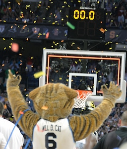 Villanova mascot Will D. Cat celebrates as time runs out and the Wildcats win the NCAA Division I men's basketball championship game at the Alamodome Monday, April 2, 2018.