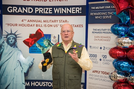 """Retired Army Col. Edward Lynch recounts how he actually hung up when AAFES called him the first time to inform him he had won the Military Star """"Your Holiday Bill is On Us"""" contest. He received a $2,500 payoff towards his card balance at the Joint Base San Antonio-Fort Sam Houston Exchange April 4. Lynch was entered into the contest when he used his card last fall to make a purchase."""