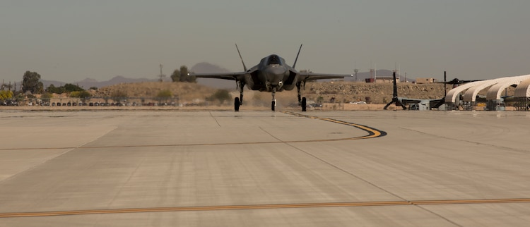 The Commanding Officer of Marine Fighter Attack Squadron 122 (VMFA-122), Lt. Col. John P. Price, lands after conducting the first flight operations in an F-35B Lightning ll at Marine Corps Air Station (MCAS) Yuma, Ariz., March 29, 2018. VMFA-122 conducted the flight operations for the first time as an F-35 squadron. (U.S. Marine Corps photo by Lance Cpl. Sabrina Candiaflores)