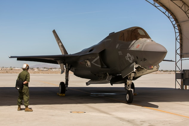 The Commanding Officer of Marine Fighter Attack Squadron 122 (VMFA-122), Lt. Col. John P. Price, conducts post-flight checks in retrograde of VMFA-122's first flight operations in an F-35B Lightning ll at Marine Corps Air Station (MCAS) Yuma, Ariz., March 29, 2018. VMFA-122 conducted the flight operations for the first time as an F-35 squadron. (U.S. Marine Corps photo by Lance Cpl. Sabrina Candiaflores)